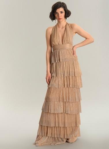 Agenda Uzun Katkat Parlak Elbise Bej